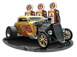 1933 Blown Coupe Yellow Flamed Hot Rod with Frontier Gas Plasma Cut Metal Sign - $35.00