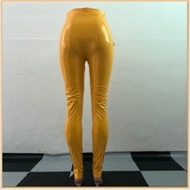 Bright Yellow Tight Fit Faux Leather High Waist Front Zip Up Legging Pencil Pant image 3