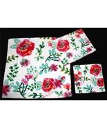 3-Pc Kassafina Colorful JACOBEAN Floral Velour Bath Hand Towels Wash Clo... - $39.99