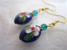 Pink Flower on Dark Blue Oval Cloisonne Bead & Czech Glass Gold Tone Earrings - $6.18