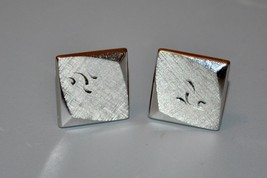 Vintage Swank Silver Tone Cufflinks Etched Scrolls Curved Square - $14.25