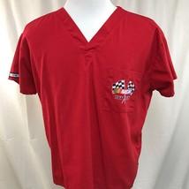 Nursing scrubs Nascar Racing Team Pit Red Crew Uniform shirt Top Medium M - $7.66