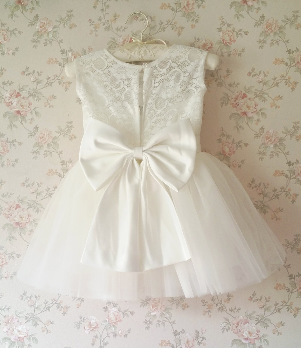 WHITE Lace Tutu Flower Girl's Dress White Knee Length Birthday Party Dresses NWT
