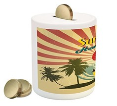 Lunarable Tropical Piggy Bank, Vintage Hawaii Summer Pattern with Rising... - $30.63