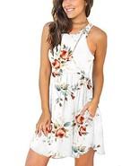 WNEEDU Women's Summer Casual Sleeveless Floral Printed Swing Dress Sundr... - $22.94