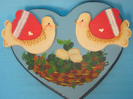 Wooden Wood Doves Birds Scene Handpainted Heart Wall Hanging Picture Blu... - $15.95