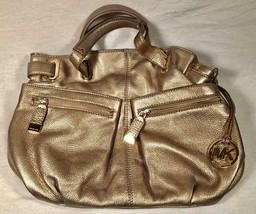 Authentic Michael Kors Mk Gold Metallic Leather Handbag Satchel Zippers Pockets - $74.24