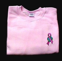 Breast Cancer Sweatshirt XL Awareness Ribbon Earth Embroidery Crew Neck ... - $24.22