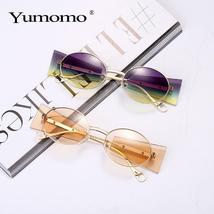 Luxury Rimless Fashion Steampunk Men Sunglasses Fashion Oval Designer Women Sun  image 6