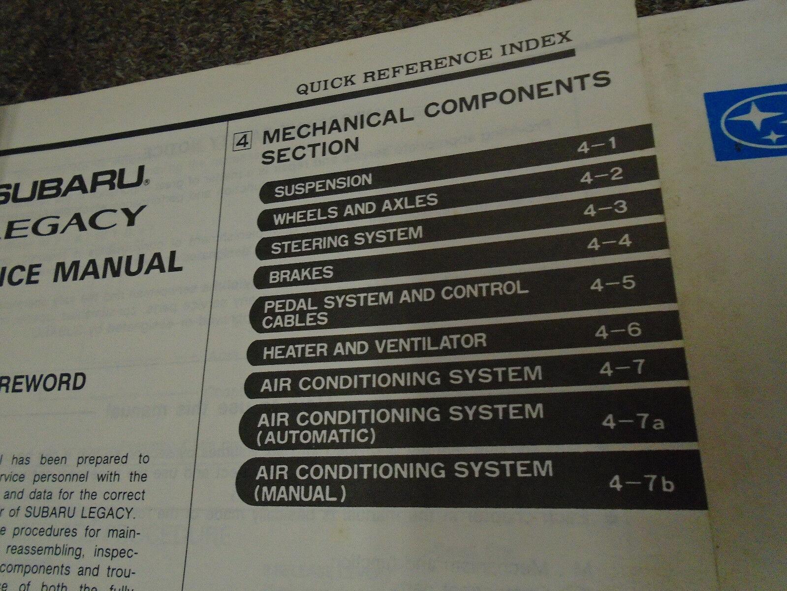 1990 Subaru Legacy Service Manual Shop Repair Books FACTORY FEO Incomplete SET