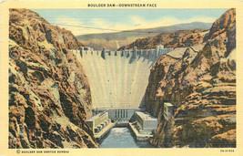 Linen Postcard AH B836 Hoover Boulder Dam Downstream Face 1941 Cancel Ne... - $7.00