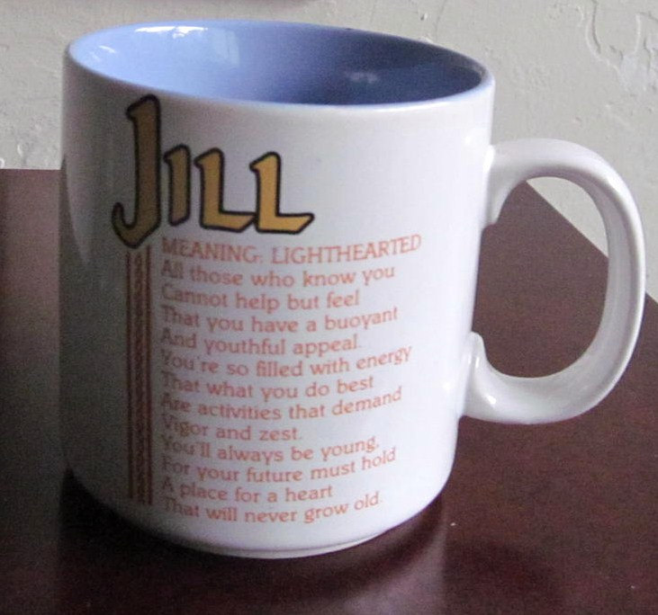 "Jill Name Meaning ""Lighthearted"" Poem by Marci G. Coffee Mug Papel"
