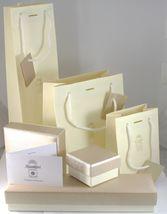 PENDENTIF CROIX OR BLANC 750 18K, DIAMANTS, FLEUR, ONDULÉES, MADE IN ITALY image 4