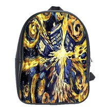 Backpack School Bag Beautiful Sexy Doctor Who Tardis Van Gogh Paint For ... - $33.00