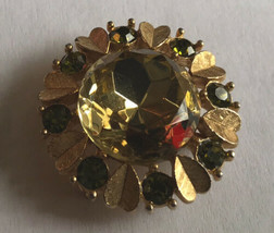 """Vtg AVON Gold Large Faceted """"Citrine"""" Glass Pin Brooch Pendant w """"Peridot"""" Leave - $11.88"""
