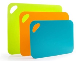 Flexible Cutting Board Mat Set, Extra Thick Plastic with Non-Slip Textur... - £15.81 GBP