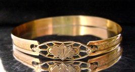 Victorian Gold Baby Child's Filigree Clasp Engraved Gold Filled Bracelet - $49.00