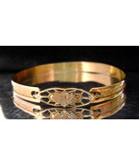Victorian Gold Baby Child's Filigree Clasp Engraved Gold Filled Bracelet - $48.00