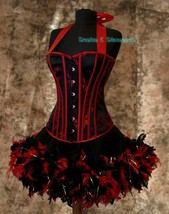 Pick Size-Saloon Girl Can Can Miss Kitty Costume w/ Halter Corset & Feat... - $119.99