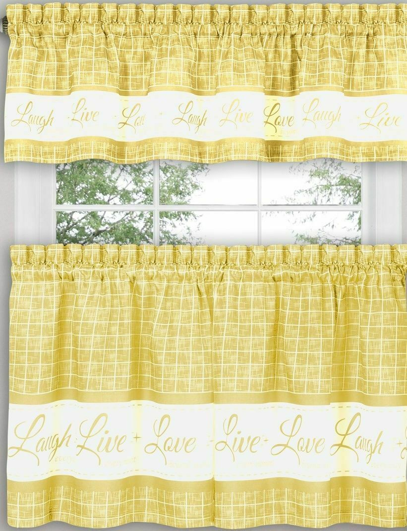 "Primary image for 3 pc Curtains Set: 2 Tiers & Valance (58""x14"") LIVE LAUGH LOVE, yellow, Achim"