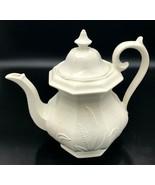 "Red-Cliff Ironstone Teapot Server Wheat Coffee White 10"" - $42.99"