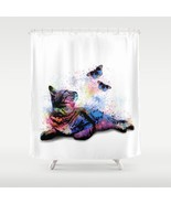 Shower curtains art shower curtain Cat 614 butterfly multicolor by L.Dumas - $68.99