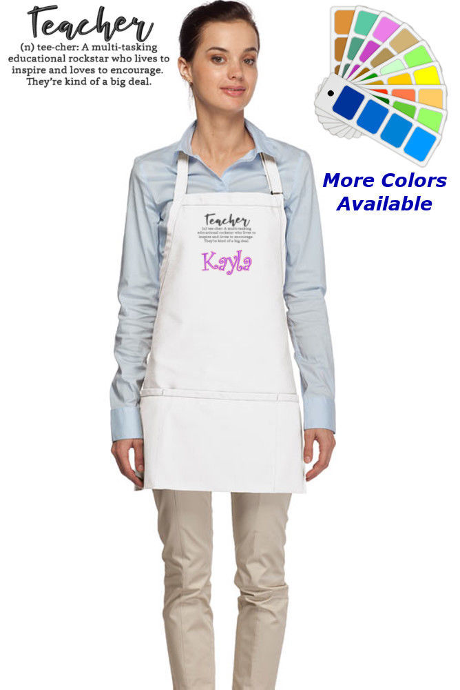 Personalized Apron with Definition of a Teacher Embroidery Design Teacher Gift - $22.99