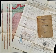 """1936 antique LANCASTER PA TOPOGRAPHICAL MAP 21.5""""x22.5"""" w BOOK geologica... - $87.95"""