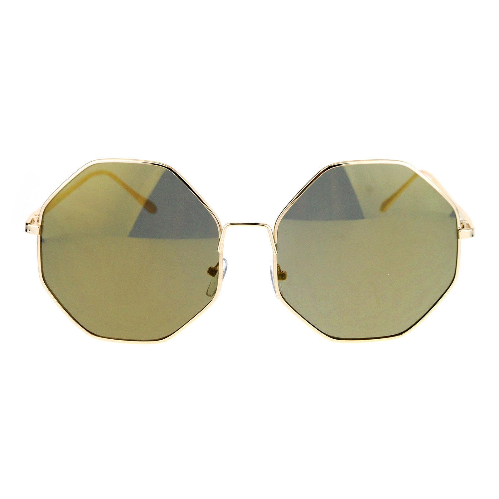 Oversized Octagon Shape Sunglasses Womens Shades Mirror Lens UV 400