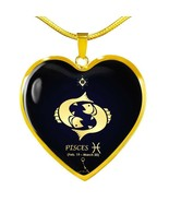 Pisces Astrology Constellation Horoscope Zodiac Necklace 18k Gold Finish... - €13,74 EUR+