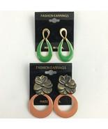 Vintage Enamel Dangle Pierced Earrings Lot Pink Flower Floral Green Gold... - $10.25