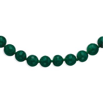 Primary image for Lex & Lu 10-10.5mm Faceted Emerald Green Agate Necklace 18""