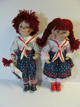 Handcrafted Porcelain Golden Keepsake Raggedy Ann & Andy Dolls Limited E... - $88.11