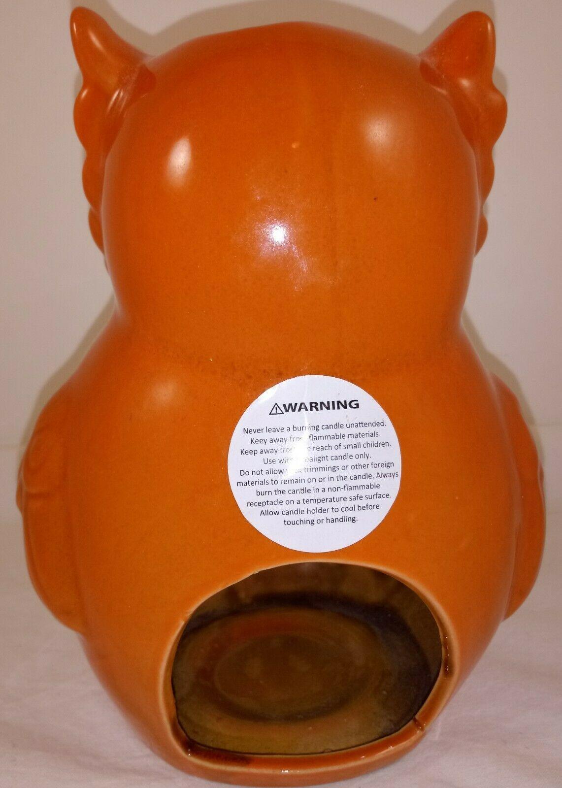 """Orange Brown  Owl Tea Light Candle Holder 7"""""""