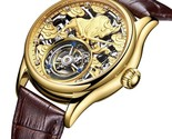 Skeleton Mechanical Tourbillon Wristwatch with 3D Microcarving ,Celtic Bull-Gold - £839.78 GBP