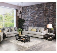 Chur Transitional Style Sofa Set in Light Gray Fabric with Free Accent P... - $1,698.00