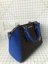 NWT Michael Kors Large Ciara Messenger Satchel Electric Blue brown PVC H... - $159.50