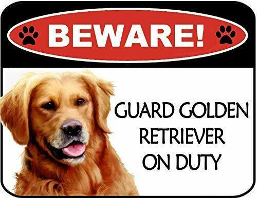 Primary image for Beware Golden Retriever On Duty Laminated Dog Sign SP3113