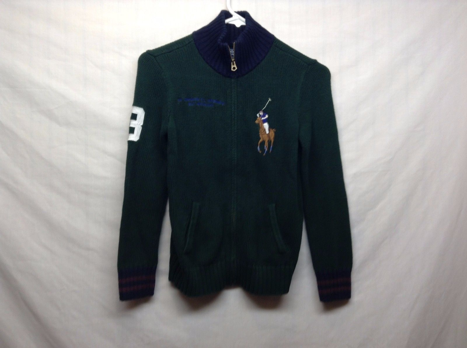 POLO Ralph Lauren Boys Green Blue Maroon Heavy Weight Sweater Sz 8-10