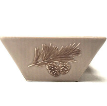St. Nicholas Square Winter Cabin Bowl Pine Cone Handpainted - $26.73