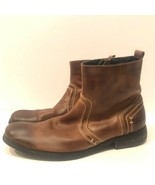 Bed Stu Men's Revolution Distressed Leather Boots Side Zip Ankle Brown S... - $99.65