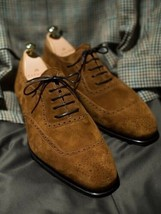 Handmade Men's Brown Lace Up Heart Medallion Oxford Suede Shoes image 1