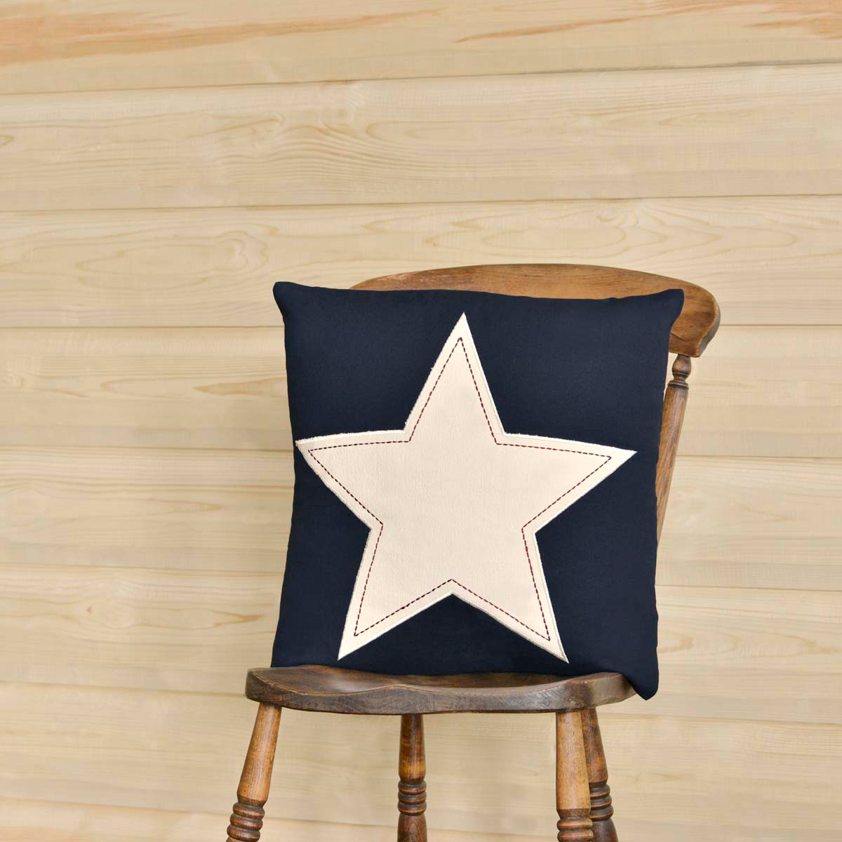 "Navy and White Star Applique Pillow - 18""x18"" - VHC Brands - Country Farmhouse"