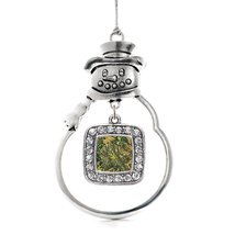 Inspired Silver Green Hunting Pattern Classic Snowman Holiday Decoration Christm - $14.69