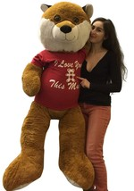 5 Foot Giant Stuffed Fox 60 Inch Soft Wears Removable Shirt I Love You T... - $164.20