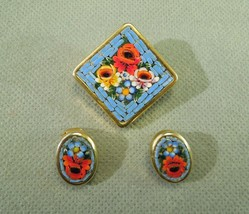 Colorful Flowers Micro Mosaic Earring and Brooch Pin Set -Vintage Italy ... - $59.40