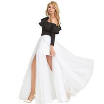 Black Pink White Slit Tulle Skirt High Waisted Full Length Slit Tulle Maxi Skirt image 6