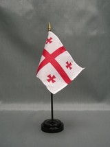 "GEORGIA REPUBLIC 4X6"" TABLE TOP FLAG W/ BASE NEW DESK TOP HANDHELD STICK... - $4.95"