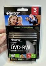Memorex Mini DVD-RW 3 Pack 2X 1.4GB 30 min Single Sided DVD Camcorder New  - $17.77