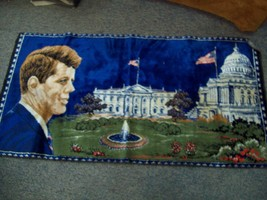 Vintage 1965 ITALY John F Kennedy Tapestry White House, Capitol - $15.83